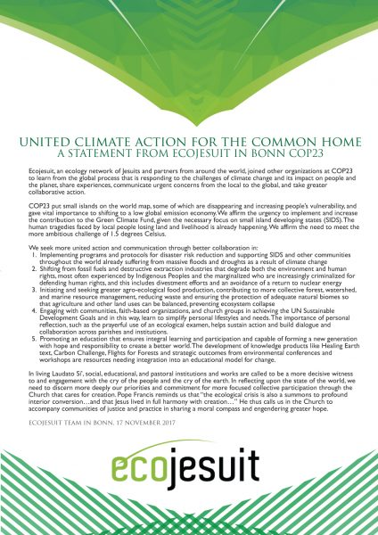 A Statement from Ecojesuit in Bonn COP23